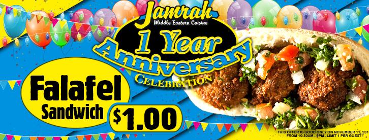 $1.00 Falafel Sandwich 1 Year Anniversary